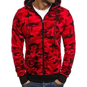 Men's Hoodie Sweatshirt Zipper Camo / Camouflage Dark Grey Red Light Grey Cotton Fitness Running Top Plus Size Long Sleeve Sport Activewear Breathable Quick Dr