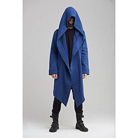 Men's Hooded Trench Coat Long Solid Colored Daily Streetwear Long Sleeve Black Blue Green S M L