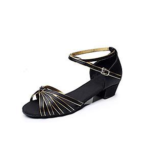 Women's Dance Shoes Latin Shoes / Ballroom Shoes / Line Dance Heel Chunky Heel Non Customizable Black and Gold / Satin / EU39