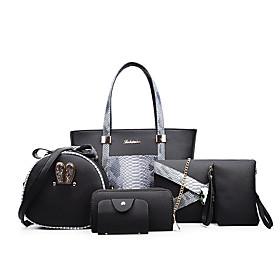 Women's Zipper PU Bag Set Bag Sets Solid Color 6 Pieces Purse Set Black / White / Fuchsia / Fall  Winter