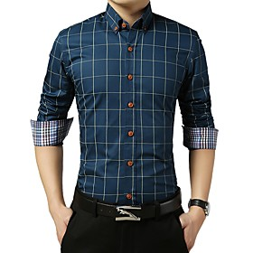 Men's Check Shirt Basic Wedding Party Daily Wine / White / Royal Blue / Light gray / Navy Blue / Light Blue