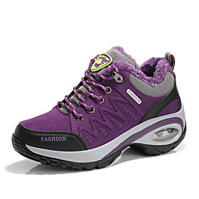 Women's Trainers / Athletic Shoes Hidden Heel Round Toe Outdoor Suede Microfiber Hiking Shoes Walking Shoes Pink / Grey / Purple / Pink