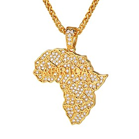 Men's Clear AAA Cubic Zirconia Pendant Necklace Classic Maps Classic Fashion Iced Out Copper Gold Silver 55 cm Necklace Jewelry 1pc For Gift Daily