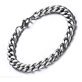 Men's Bracelet Thick Chain Paper Clip Simple Fashion Steel Stainless Bracelet Jewelry Silver For Gift Daily
