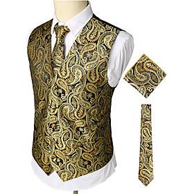 Men's Work / Club Business / Luxury / Vintage Spring / Fall / Winter Regular Vest, Paisley V Neck Sleeveless Cotton / Spandex Print Gold / Business Casual / Sl