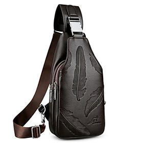 Men's Bags PU Leather Sling Shoulder Bag Zipper for Daily Dark Brown / Black