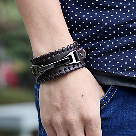 Men's Leather Bracelet Geometrical Totem Series Stylish Vintage Punk Genuine Leather Bracelet Jewelry Black / Brown For Gift Street Festival