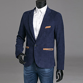 Men's Blazer Regular Color Block Party Sports Streetwear Fall Winter Long Sleeve Wine / Khaki / Navy Blue M / L / XL