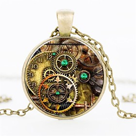 Men's Pendant Necklace Trace Gear Vintage Punk Steampunk Army Glass Alloy Bronze Black Silver 50 cm Necklace Jewelry 1pc For Gift
