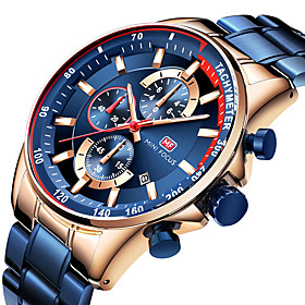 Men's Dress Watch Quartz Watches Japanese Quartz Classic Style Three-eye Six-needle Stainless Steel Black / Blue / Silver 30 m Calendar / date / day Noctilucen