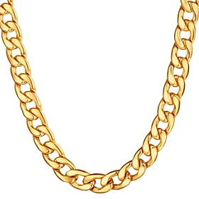 Men's Chain Necklace Cuban Link Mariner Chain Hyperbole Fashion Hip Hop Stainless Steel Black Gold Silver 55 cm Necklace Jewelry 1pc For Gift Daily
