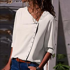 Women's Blouse Shirt Solid Colored Long Sleeve Shirt Collar Tops Slim Basic Basic Top White Black Yellow