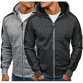 Men's Hoodie  Sweatshirt Zipper Solid Color Black Dark Grey Light Grey Light Blue Running Fitness Top Plus Size Long Sleeve Sport Activewear Breathable Anatomi