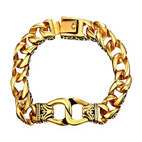 Men's Chain Bracelet Thick Chain Fashion Stainless Steel Bracelet Jewelry Gold / Silver For Gift Daily