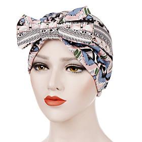 Women's Turban Work Basic Cute Cotton Floppy Hat-Floral Print All Seasons Black Wine White