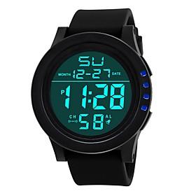 Men's Digital Watch Digital Fashion Calendar / date / day Digital White Black Blue / Dual Time Zones / Noctilucent