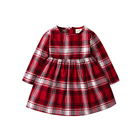Baby Girls' Basic Christmas Houndstooth Christmas Long Sleeve Dress Red / Toddler