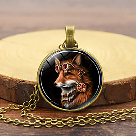 Men's Charm Necklace Classic Fox Vintage Steampunk Glass Alloy Black Gold Silver 455 cm Necklace Jewelry 1pc For Daily Holiday
