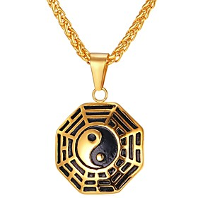 Men's Pendant Necklace Classic Foxtail chain franco chain yin yang Classic Vintage Stainless Steel Gold Silver 55 cm Necklace Jewelry 1pc For Gift Daily