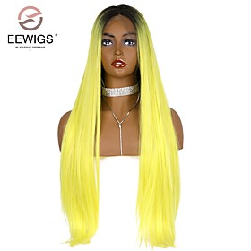 Synthetic Lace Front Wig kinky Straight Natural Straight Middle Part Glueless Lace Front Lace Front Wig Blonde Long Yellow Synthetic Hair 26 inch Women's with