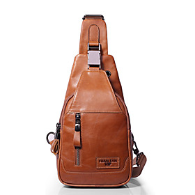 Men's Bags Nappa Leather Sling Shoulder Bag Zipper Solid Color for Daily / Outdoor Dark Brown / Yellow / Fall  Winter