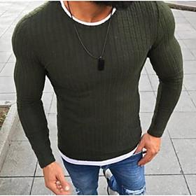 Men's Basic Solid Colored Pullover Long Sleeve Slim Regular Sweater Cardigans Black Red Green