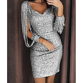 Women's Bodycon Short Mini Dress - 3/4 Length Sleeve Solid Color Sequins Deep V Glitter Spring  Summer Deep U Glitters Sexy Split Sleeve Slim Split Black Yello