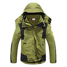 Men's Hiking 3-in-1 Jackets Winter Outdoor Patchwork Thermal / Warm Waterproof Windproof UV Resistant 3-in-1 Jacket Softshell Jacket Top Full Length Visible Zi