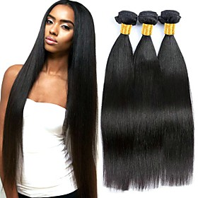 3 Bundles Hair Weaves Brazilian Hair Straight Human Hair Extensions Remy Human Hair 100% Remy Hair Weave Bundles 300 g Natural Color Hair W