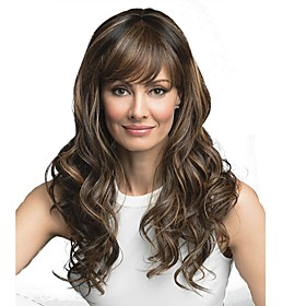 Synthetic Wig Curly With Bangs Wig Long Medium Brown / Bleached Blonde Synthetic Hair 24 inch Women's Synthetic Brown