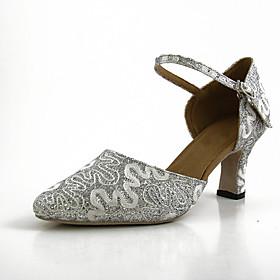 Women's Modern Shoes Sandal Sneaker Cuban Heel Lace Lace Silver / Performance