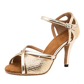 Women's Dance Shoes Latin Shoes / Ballroom Shoes / Line Dance Sandal Sneaker Splicing Slim High Heel Customizable Gold / Performance / Leather