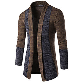 Men's Basic Patchwork Color Block Cardigan Long Sleeve Butterfly Sleeves Slim Regular Sweater Cardigans Spring Fall Winter Camel Dark Gray Gray