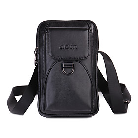 Men's Bags Nappa Leather Mobile Phone Bag Zipper Solid Color for Daily / Outdoor Black / Brown / Fall  Winter