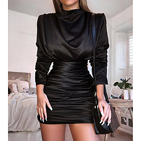 Women's Sheath Dress Short Mini Dress - Long Sleeve Solid Color Ruched Pleated Sexy Party Batwing Sleeve Slim Black Red Royal Blue S M L XL