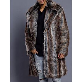 Men's Daily Luxury / Basic Winter Long Fur Coat, Striped Turndown Long Sleeve Faux Fur Brown