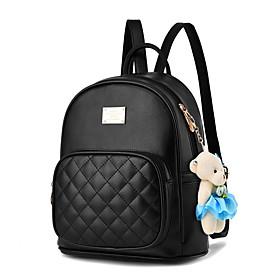 Women's PU Leather School Bag Rucksack Commuter Backpack Large Capacity Waterproof Zipper...