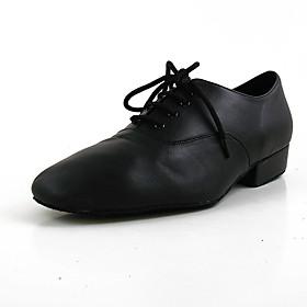 Men's Modern Shoes Flat Flat Heel Cowhide Plain Top Black