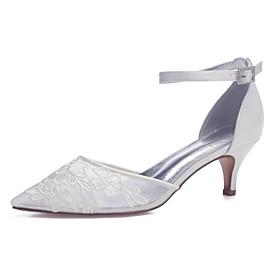Women's Wedding Shoes Mesh Kitten Heel Pointed Toe Sparkling Glitter Satin / Mesh Sweet Spring  Summer White / Ivory / Party  Evening
