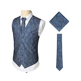 Men's V Neck Vest Regular Print Work Birthday Business Vintage Print Sleeveless Navy Blue S / M / L / Business Casual