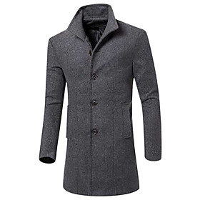 Men's Daily / Weekend Fall / Winter Long Coat, Solid Colored Peaked Lapel Long Sleeve Others Black / Wine / Army Green / Slim