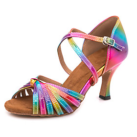 Women's Dance Shoes Latin Shoes / Ballroom Shoes / Line Dance Sandal Sneaker Buckle Slim High Heel Customizable Rainbow / Performance / Leather
