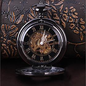 Men's Skeleton Watch Pocket Watch Mechanical manual-winding Roman Numeral Casual Casual Watch Analog Black / Japanese / Japanese / Steampunk