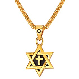 Men's Pendant Necklace Classic Star of David Pentagram Classic Vintage Stainless Steel Blue Gold Silver 550 cm Necklace Jewelry 1pc For Gift Daily