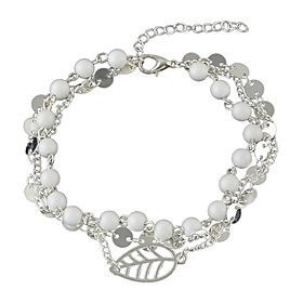 Ankle Bracelet Ladies Simple Basic Women's Body Jewelry For Gift Ceremony Beaded Synthetic Tourmaline Alloy Leaf Gold Silver 1pc