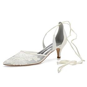 Women's Wedding Shoes Lace up Kitten Heel Pointed Toe Sparkling Glitter Satin / Mesh Sweet Spring  Summer White / Ivory / Party  Evening