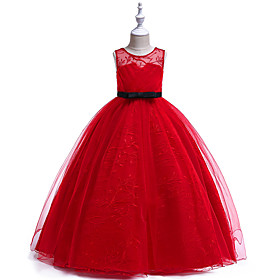 Kids Girls' Active Basic Party Holiday Solid Colored Sleeveless Midi Dress Red