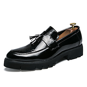 Men's Loafers  Slip-Ons Formal Shoes Novelty Shoes Casual / British Wedding Party  Evening Walking Shoes Leather / Patent Leather Warm Non-slipping Height-incr