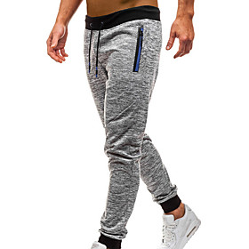 Men's Basic / Street chic Daily wfh Sweatpants Pants - Solid Colored / Striped Dark Gray Light gray L XL XXL