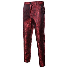 Men's Active Basic Daily Sports Dress Pants Pants - Geometric Wine Black Purple S / M / L